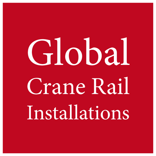 a text graphic logo containing the words global crane rail installations on red background
